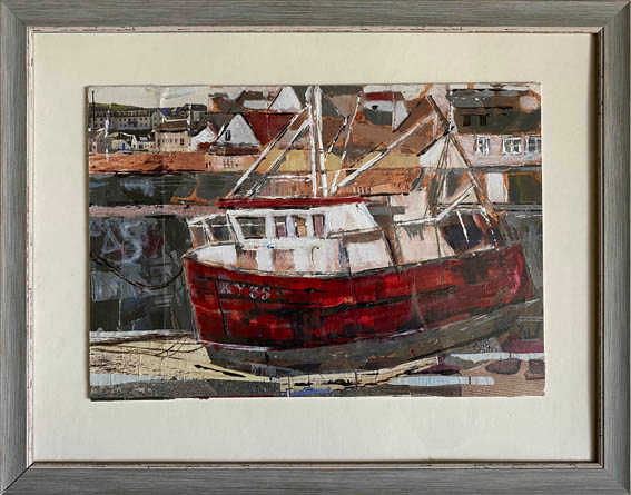 """""""Wee red boat""""  Oil & Mixed Media  20"""" x 16""""   £200"""
