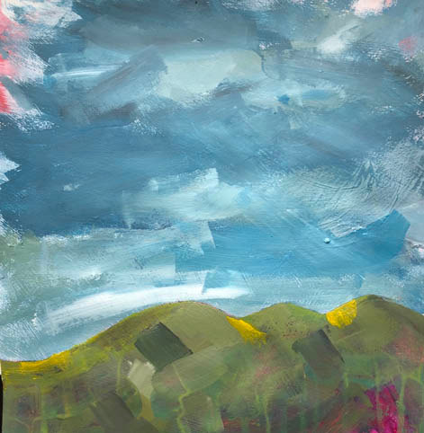 """""""In the fold of a green hill""""  24"""" x 16""""  Acrylic  £75  Framed"""