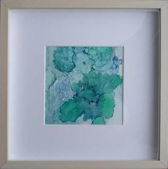 """""""Blue Floral""""  Alcohol Ink  12.5 x 12.5cm   £40"""