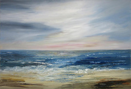 """Seascape by Linda Paton.  Winner of the March 2019 competition """"Where do we draw the Line"""""""