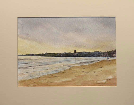 """""""Morning Light, West Sands""""  Watercolour  14"""" x 11""""  SOLD"""