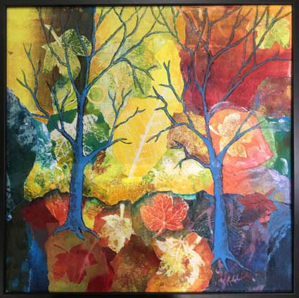 """Colours of Autumn""  Acrylic Collage  40 x 40cm  £60"
