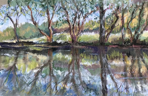 trees and reflection study by unknown size unknown
