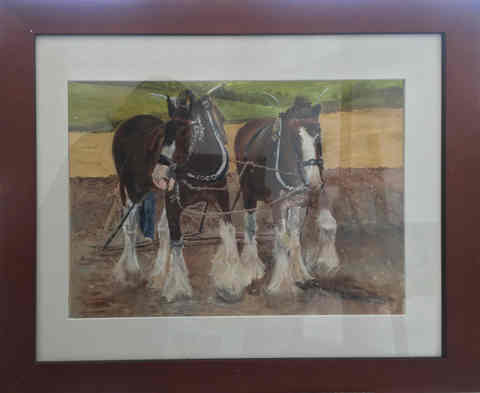 """Clydesdale team""  Oil  23"" x 19""    N.F.S."