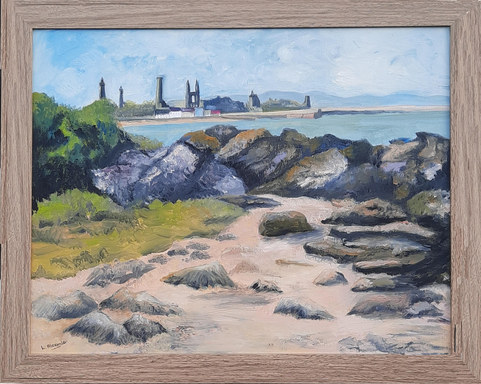 """""""St Andrews East Sands"""" Oil 57 x 47cm £150"""
