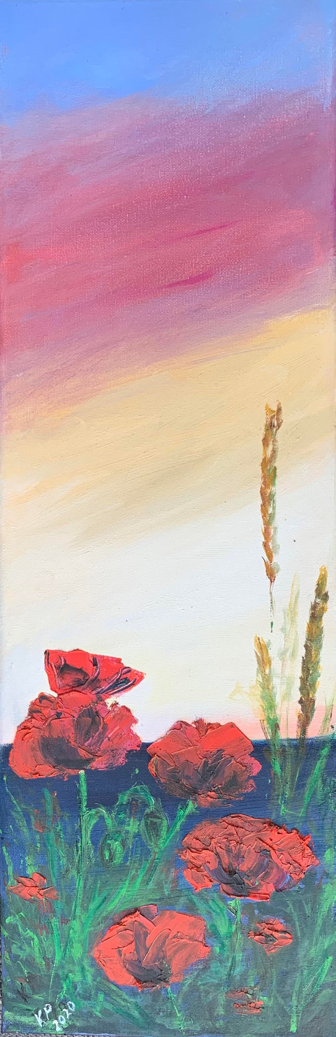 """Poppies""  Oil  8"" x 23.5""  £55"