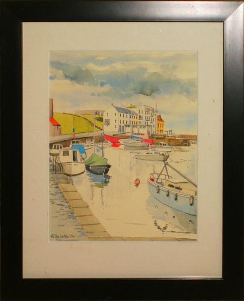 """""""St. Andrews Inner Harbour""""  Watercolour 13"""" x 16""""  £60"""