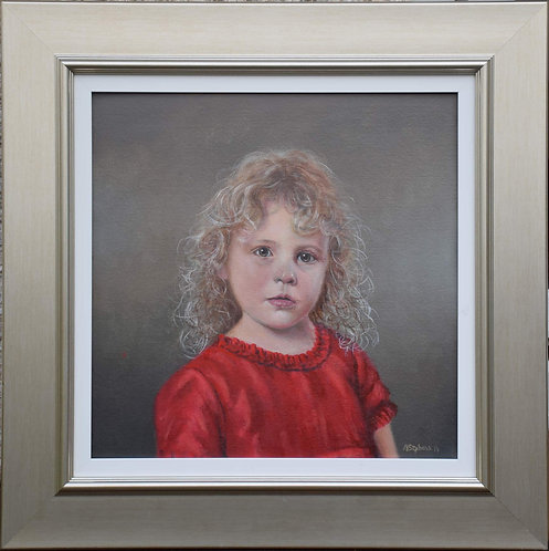 """Girl in the red dress by Alan Stephens. oil 18"""" x 18"""""""