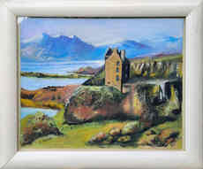 """Ruined Highland Castle by the Loch""  44 x 36cm  £90"