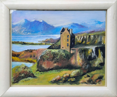 """""""Ruined Highland Castle by the Loch""""  44 x 36cm  £90"""