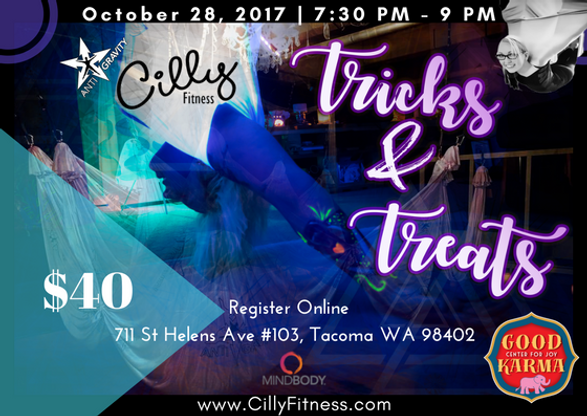 Haloween, Tacoma, Tricks & Treats, Antigravity yoga, yoga, Cilly Fitness
