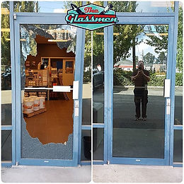 Tempered commercial door repair. _6mm tempered Solarcool Solarblue.jpg