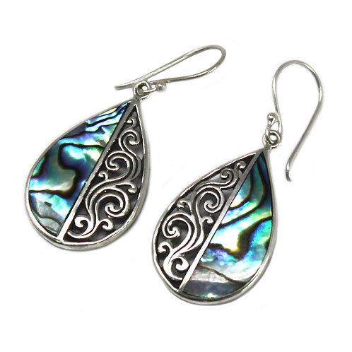 Shell & Silver Earrings - Abalone Teardrop