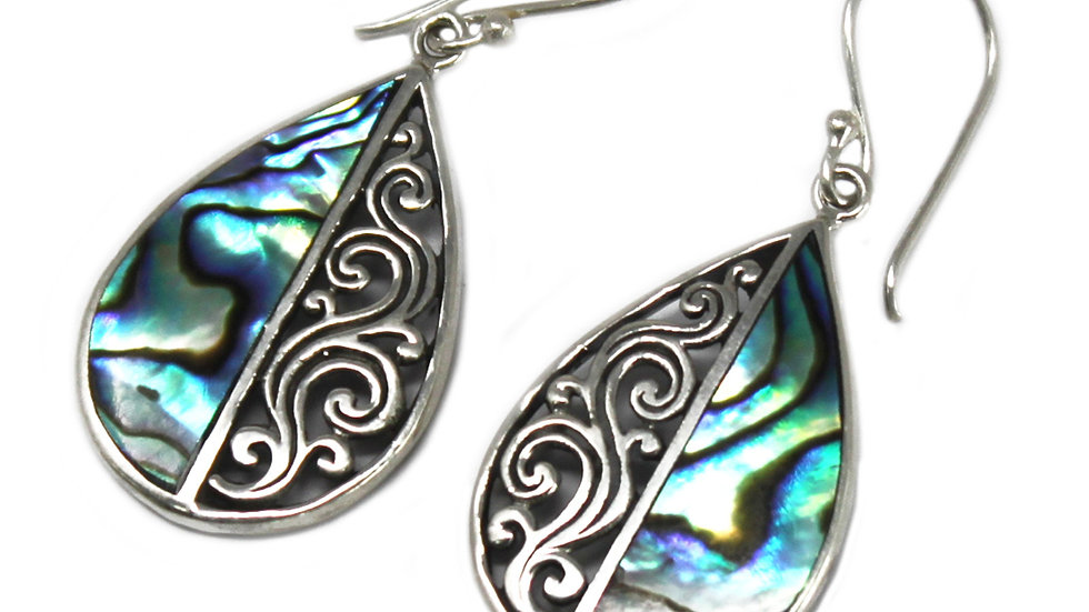 Shell & Silver Earrings - Abalone Teardrop