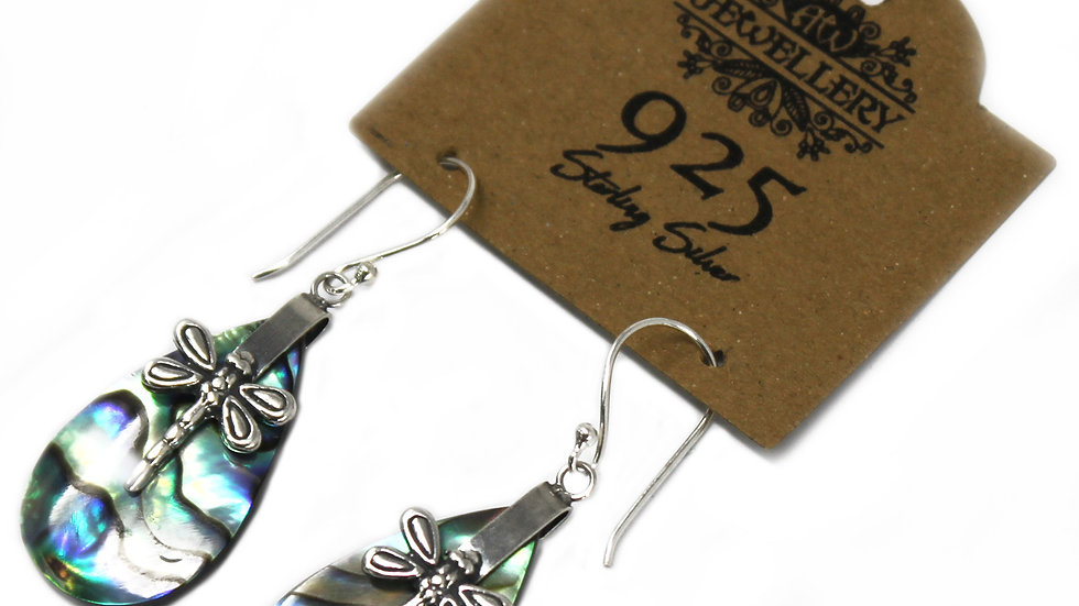 Abalone Dragon Fly& Silver Earrings - Dragonflies - Silver & Abalone (Free P