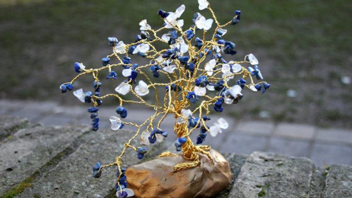 Lapis Lazuli And Clear Quartz Gemstone 925 Gold Wire Tree
