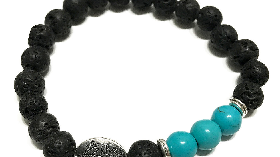 Turquoise Leaf/Lava Stone Bracelet