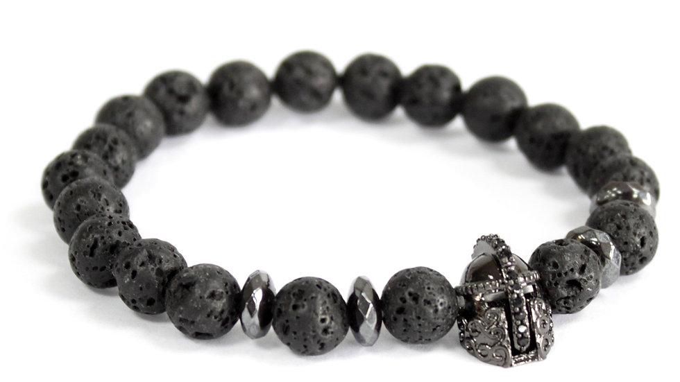 Knights Helmet / Lava Stone - Gemstone Bracelet