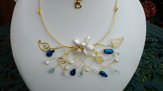 Genuine Gemstone and 925 Gold Wire Freshwater Pearl Jewellery Set