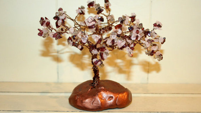 Garnet And Rose Quartz Bronze Wire Gemstone Tree
