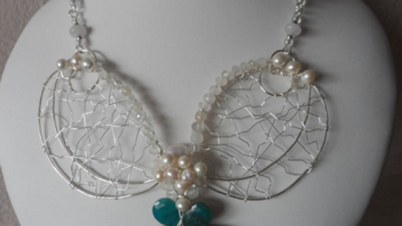Chrysocolla, Pearl and Quartz Silver Statement Necklace Set