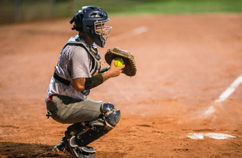 Softball Catcher with Gear