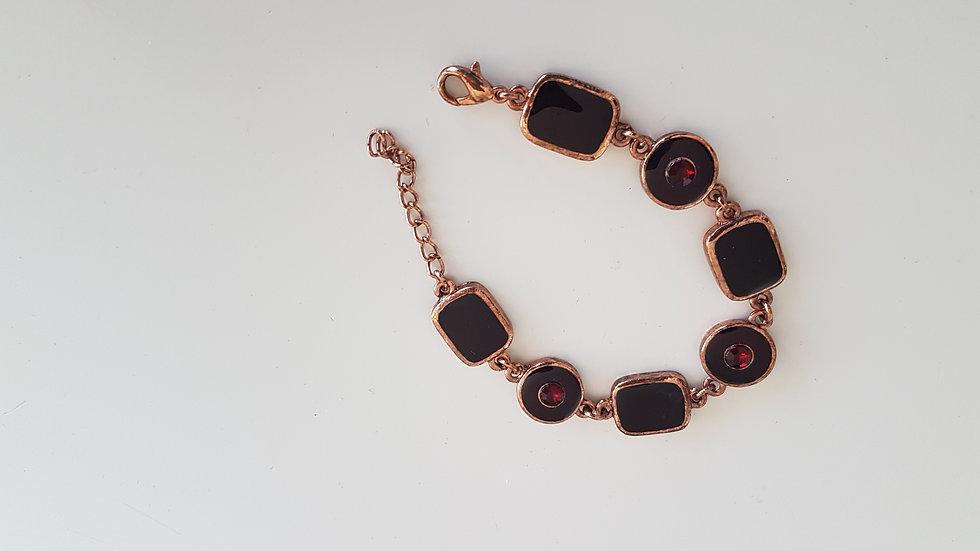 """""""Grenat"""", bracelet géométrique acier doré et verre"""