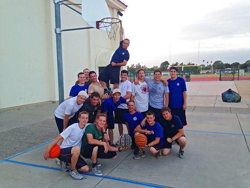 Gentleman playing team basketball at drug rehab in California