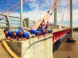 Planking on Friendship Bridge