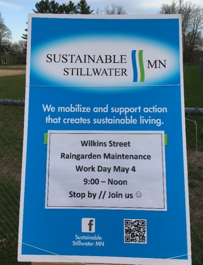 Sign to let neighbors on Wilkins St. know about the raingarden maintenance event.