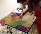 Atelier de peinture sur feuille de lotus. Lotus leaves painting workshop