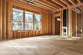 interior frame of a new house under cons