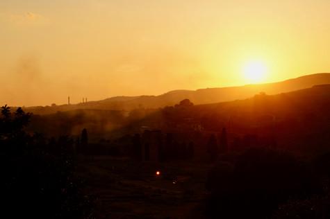 sunset over sicily