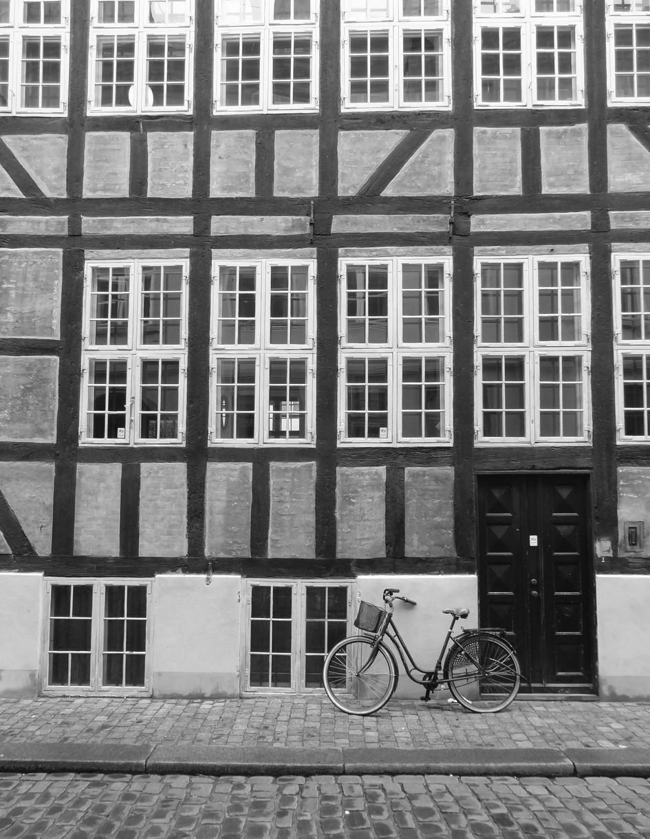 bike on a cobbled street. copenhagen