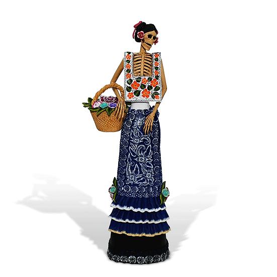 Catrina con canasta de flores