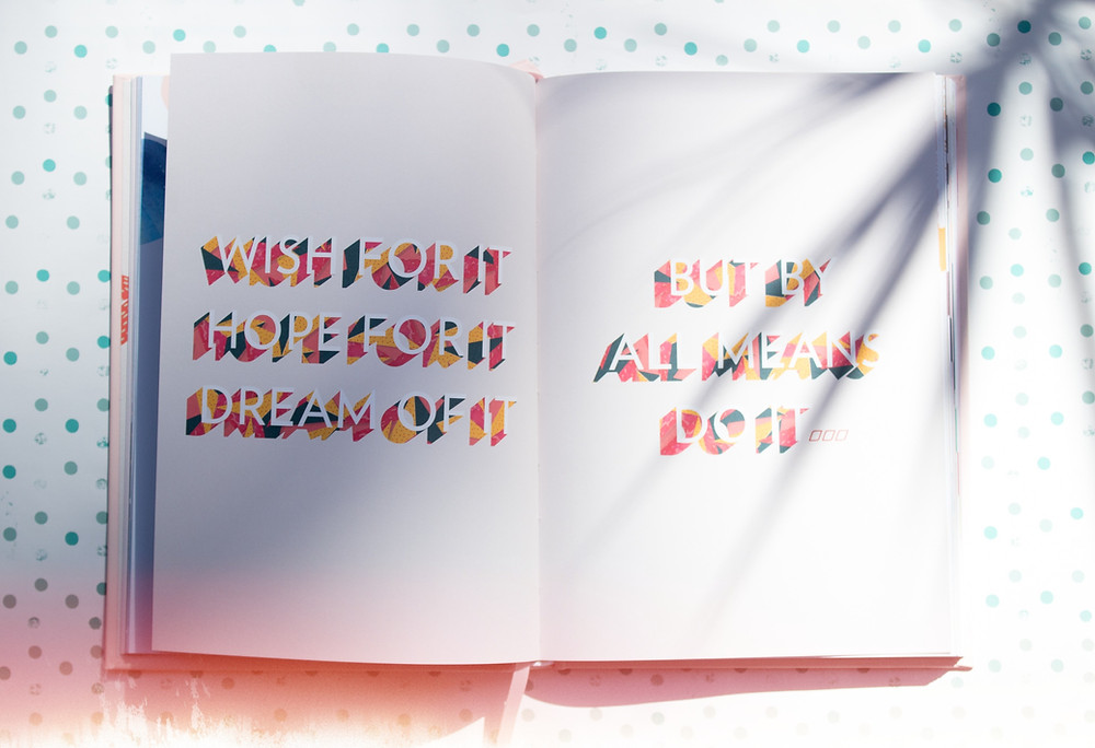 A book with words