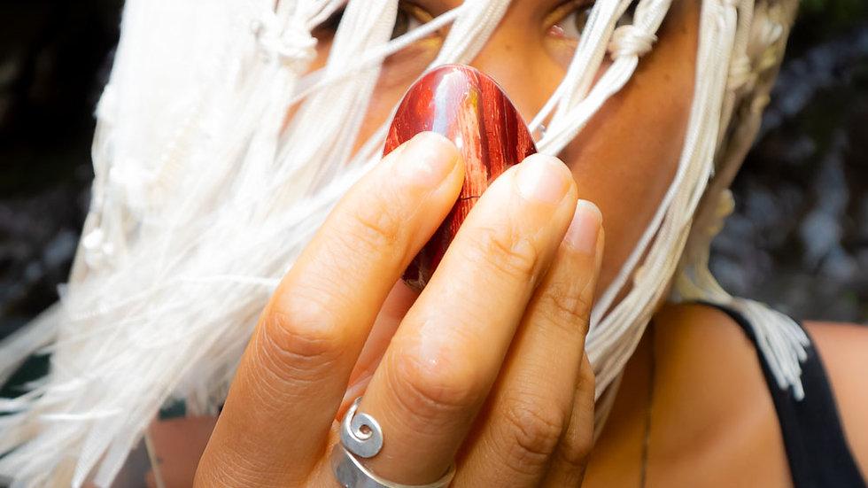 Red Snakeskin Jasper Yoni Egg