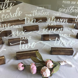 Acrylic Table Numbers with Wooden Stands
