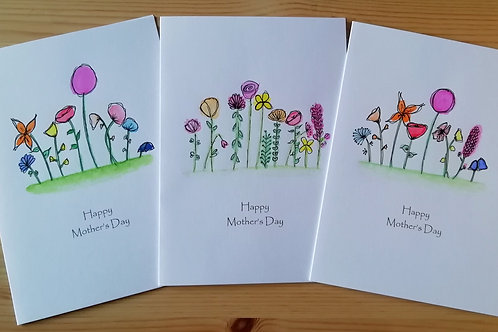 Mother's Day hand-painted floral card