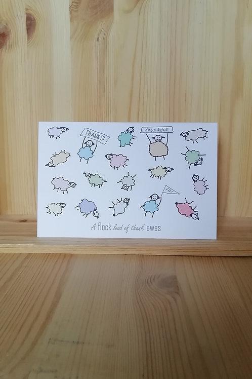 A flock load of thank ewes - 5 card bundle