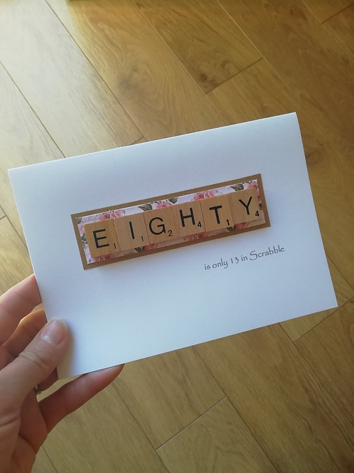 Scrabble 80th birthday card - floral
