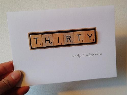 Scrabble 30th birthday card