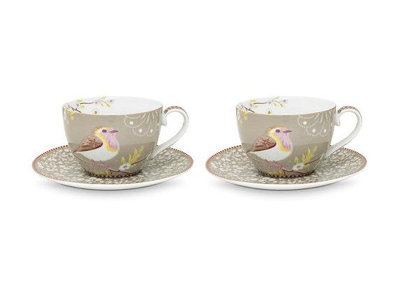 Haki Kuşlu ikili Çay Fincanı 280 ml / Hediye Kutulu