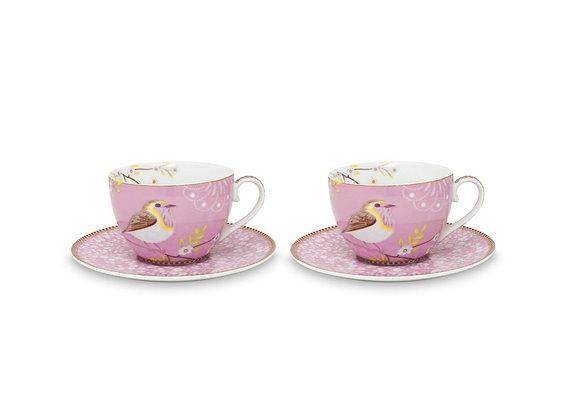 Pembe Kuşlu İkili Çay Fincanı 289 ml / Hediye Kutulu