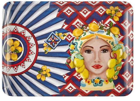 Positano Kadın Yüz Desenli Servis Tabağı 17,5*24 Cm