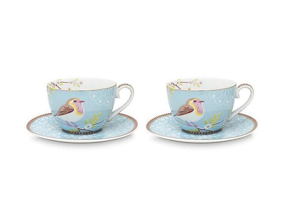 Mavi Kuşlu İkili Çay Fincanı 280ML / Hediye Kutulu