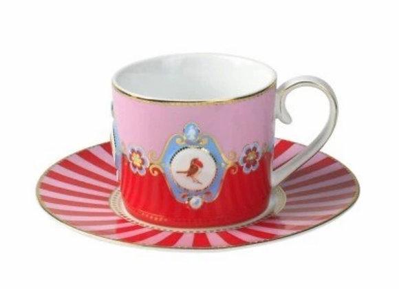 Love Bird Çay Fincanı, Kırmızı/ Pembe