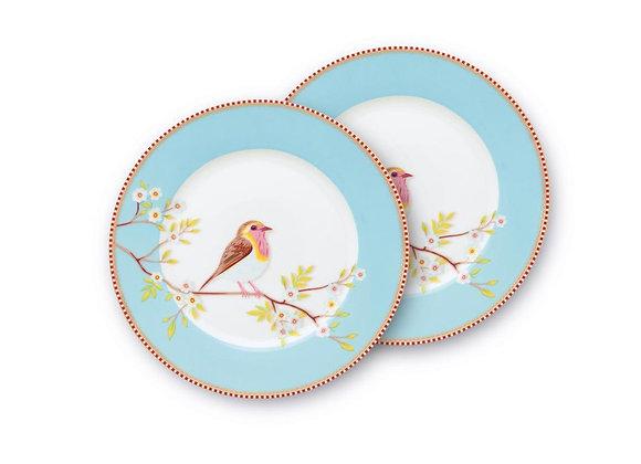 Mavi Kuşlu Tabak İkili Floral 21 cm / Hediye Kutulu