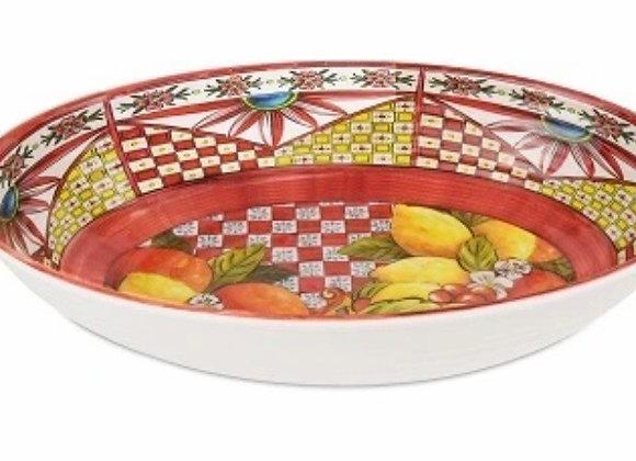 Kırmızı Barok Oval Servis Kasesi 33x23 Cm