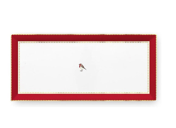Love Bird Kırmızı Pembe Servis Tabaği 33.3x15.5cm
